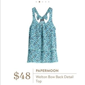 Paper Moon Welton Bow Back Detail Top Blue Floral